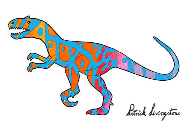 Allosaurus watercolor drawing red blue by Patrick Livingstone