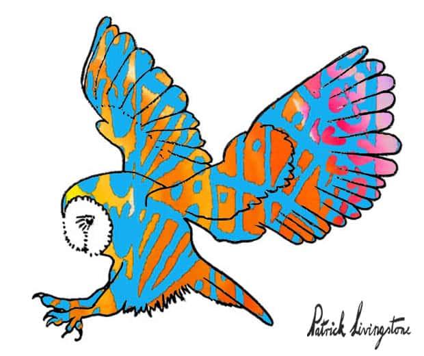 Barn owl attack watercolor orange blue by Patrick Livingstone