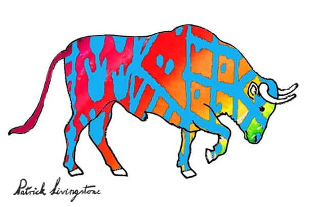 Bull watercolor drawing red blue by Patrick Livingstone