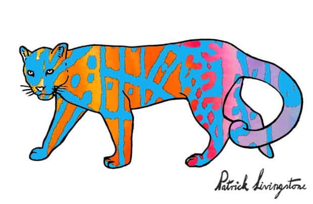 Clouded Leopard watercolor drawing red blue by Patrick Livingstone