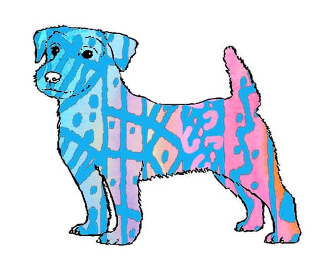 Jack russell terrier dog watercolor drawing pink blue by Patrick Livingstone