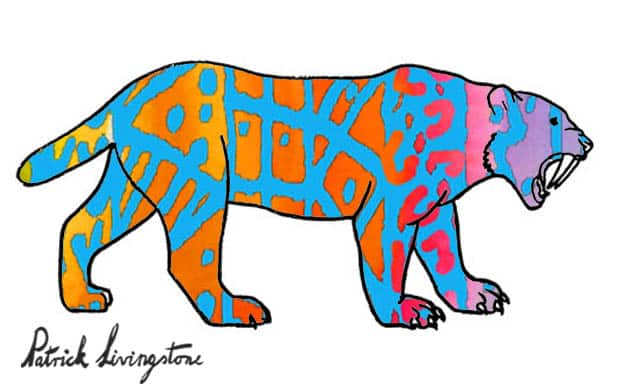 Sabre tooth tiger blue red by Patrick livingstone