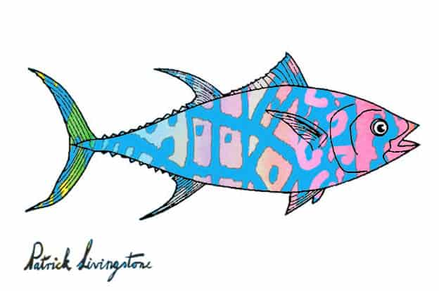 Tuna watercolor drawing bluish pink by Patrick Livingstone