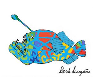 Anglerfish drawing colored