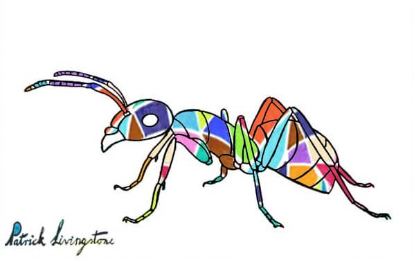 Ant drawing colored diamonds