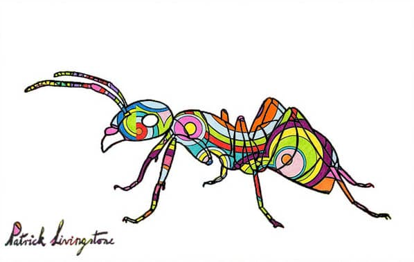 Ant drawing colored small circles