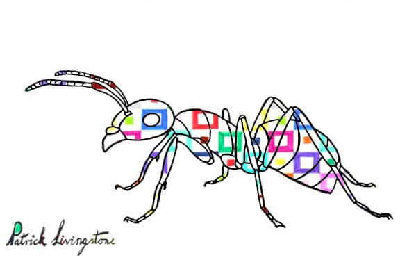 Ant drawing colored squares