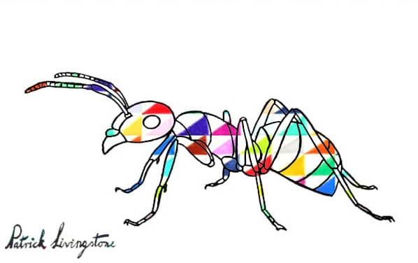 Ant drawing colored triangles