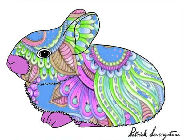 Baby Rabbit drawing colored a
