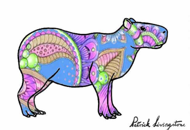 Capybara drawing colored a