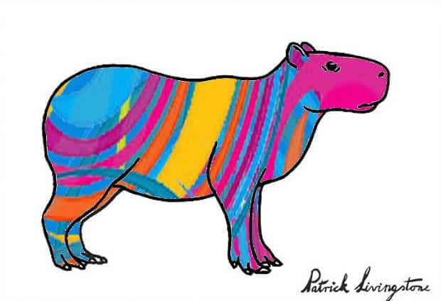 Capybara drawing colored b