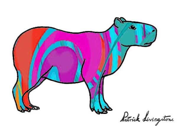 Capybara drawing colored c