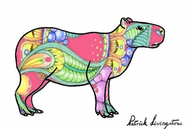 Capybara drawing colored e
