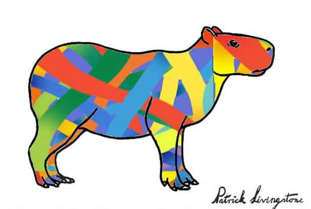 Capybara drawing colored o