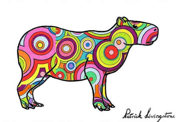 Capybara drawing colored p