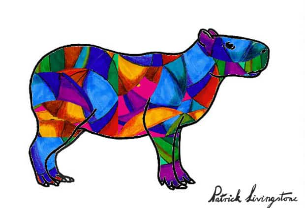 Capybara drawing colored q