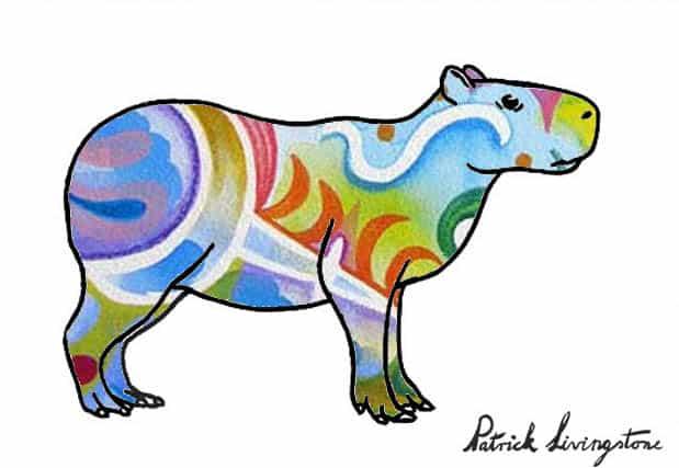 Capybara drawing colored t