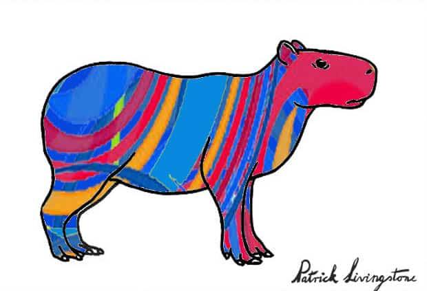 Capybara drawing colored v