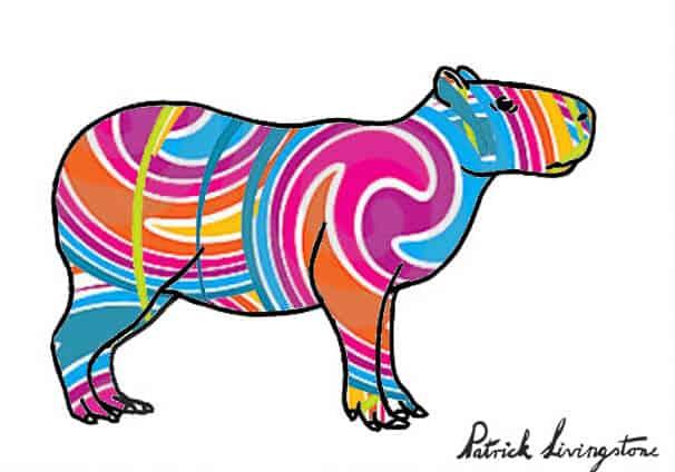 Capybara drawing colored x