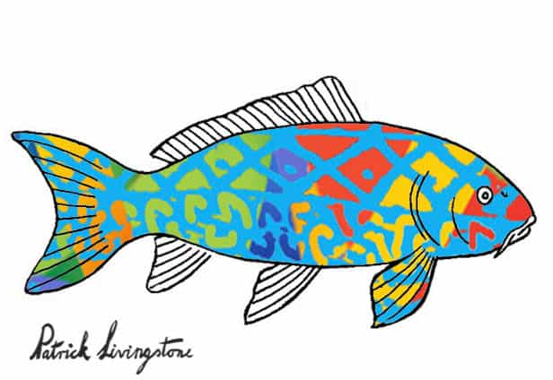 Carp drawing colored blue on green
