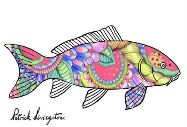 Carp drawing colored red paisley