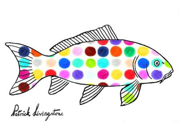 Carp drawing colored spots