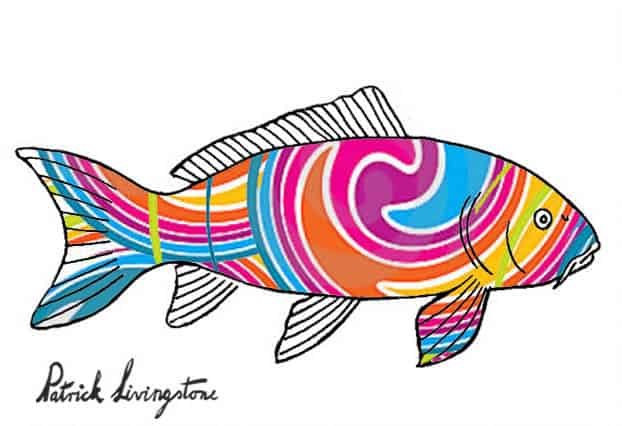 Carp drawing colored swirly lines