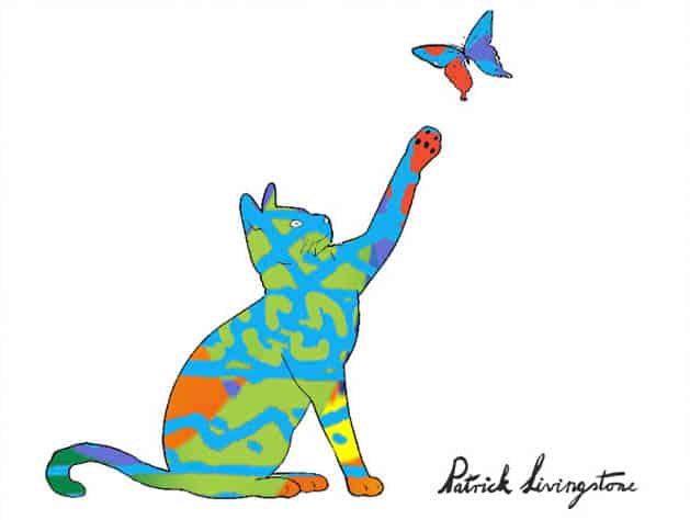 Cat and Butterfly drawing colored