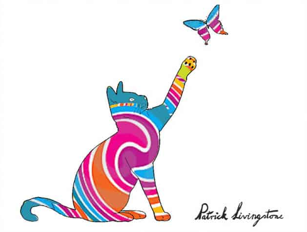 Cat and Butterfly drawing colored d