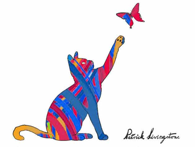Cat and Butterfly drawing colored g