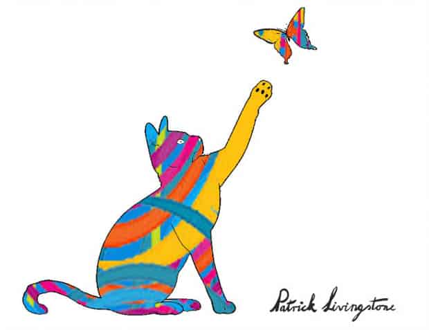 Cat and Butterfly drawing colored h