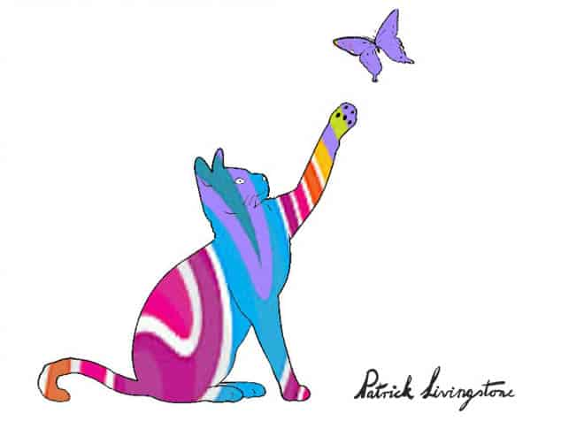Cat and Butterfly drawing colored i