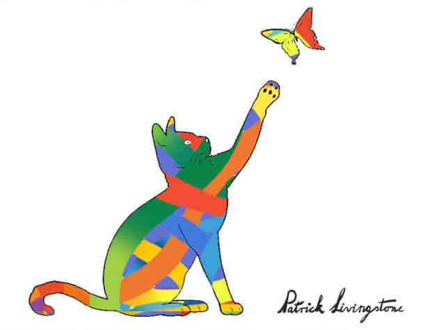 Cat and Butterfly drawing colored o