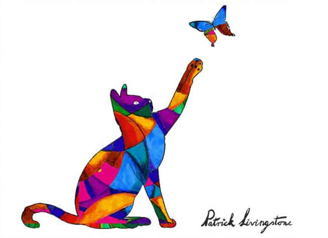 Cat and Butterfly drawing colored q