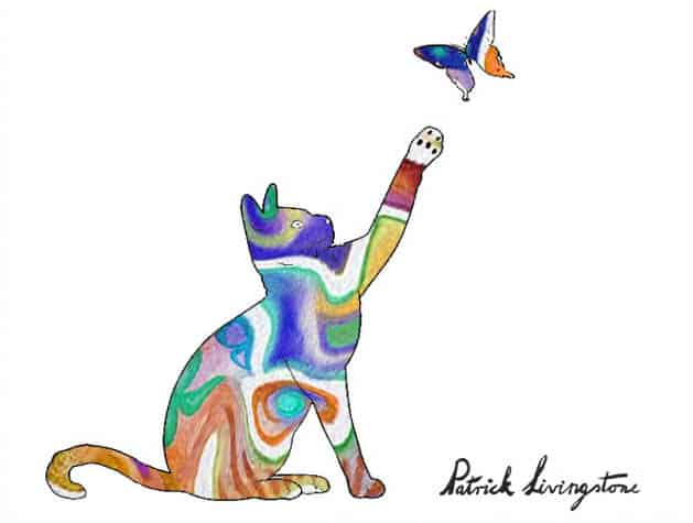 Cat and Butterfly drawing colored r
