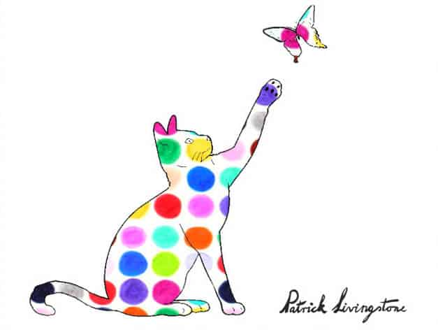 Cat and Butterfly drawing colored s
