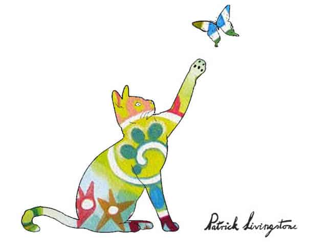 Cat and Butterfly drawing colored t
