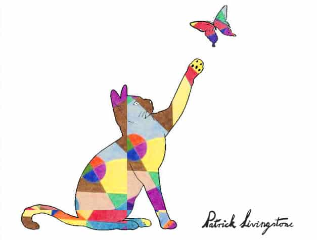 Cat and Butterfly drawing colored u