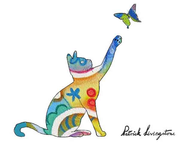 Cat and Butterfly drawing colored y