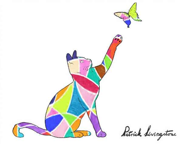 Cat and Butterfly drawing colored z