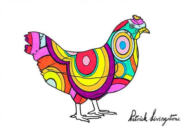Chicken drawing colored e