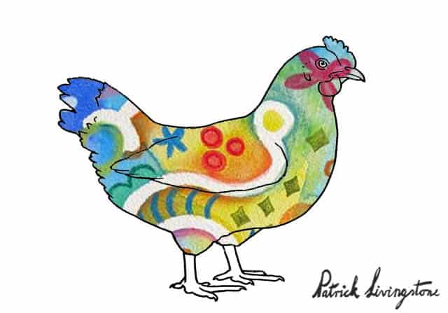 Chicken drawing colored u