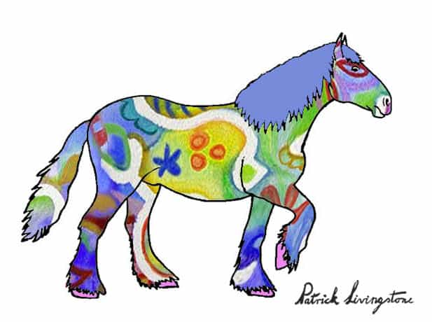 Clydesdale drawing colored miro green