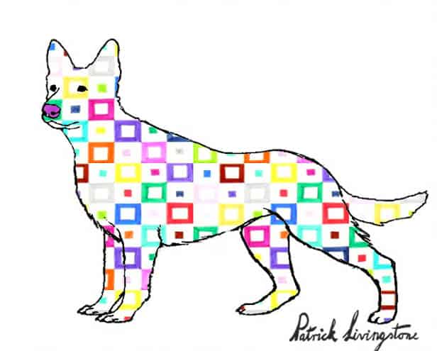 German Shepherd dog drawing colored