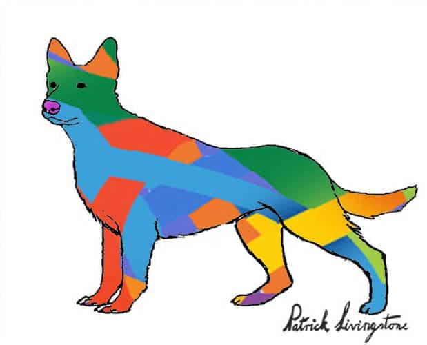 German Shepherd dog drawing colored p