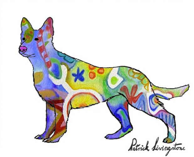 German Shepherd dog drawing colored y