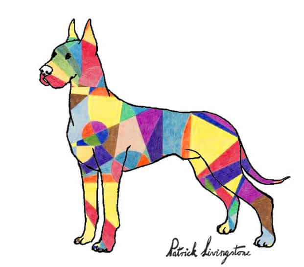Great dane drawing colored Klee
