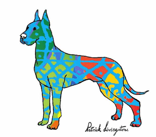 Great dane drawing colored blue green