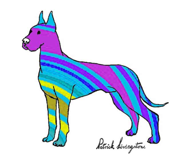 Great dane drawing colored blue