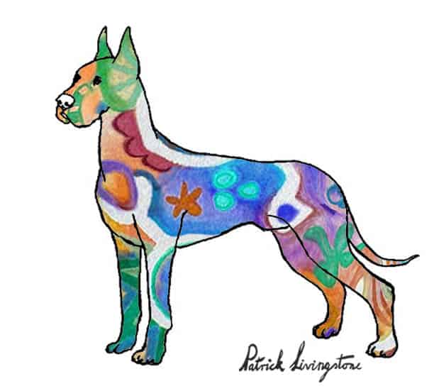 Great dane drawing colored carpet
